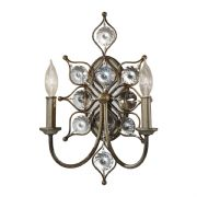 Leila Double Wall Light in Burnished Silver and Bauhinia Crystal - FEISS FE/LEILA2